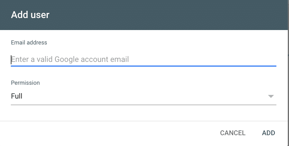 Enter the gmail or gsuite email address you want to give access to