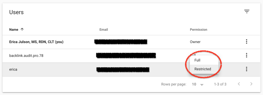 How to change permissions in Google Search Console