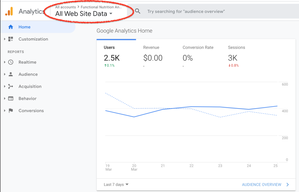 Select a property within Google Analytics
