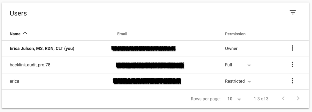 Verify the user is listed in Google Search Console