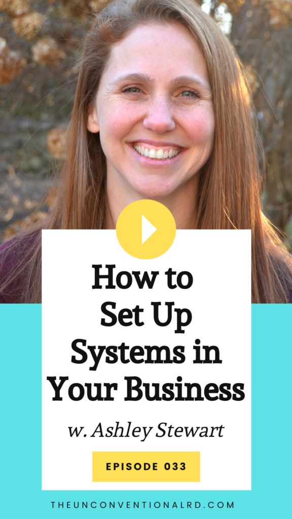 The Unconventional RD Podcast - Episode 33. How to set up systems in your business with dietitian Ashley Stewart.