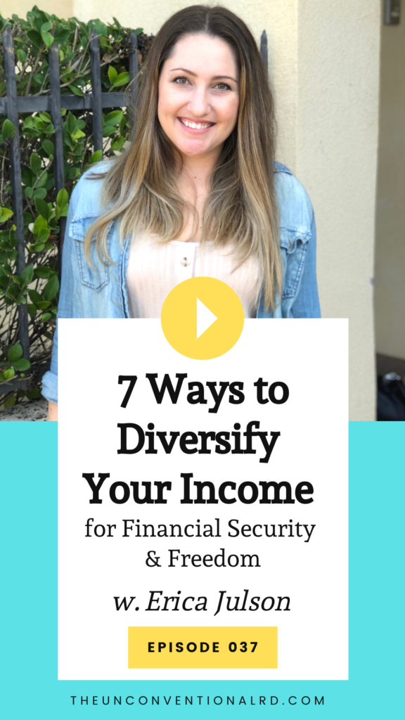 Promotional Images for Episode 037 of The Unconventional RD Podcast - Erica's face plus the episode title: 7 Ways to Diversify Your Income for Financial Security and Freedom