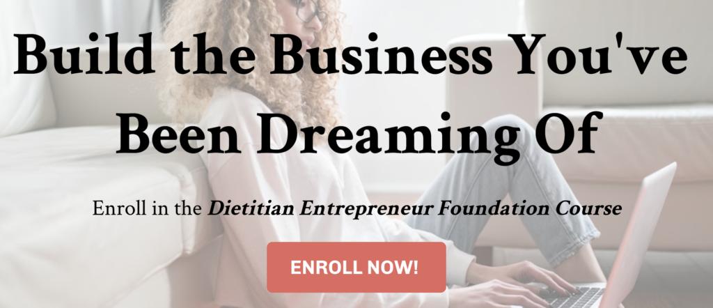 Dietitian Entrepreneur Foundation Course Black Friday Deal 2020
